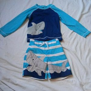 Gymboree Shark Swim Trunks and Rash Guard Set